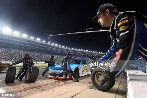 Daniel Hemric driver of the Blue Gate Bank Chevrolet pits during the NASCAR XFINITY Series O'Reilly Auto Parts 300 at Texas Motor Speedway on...