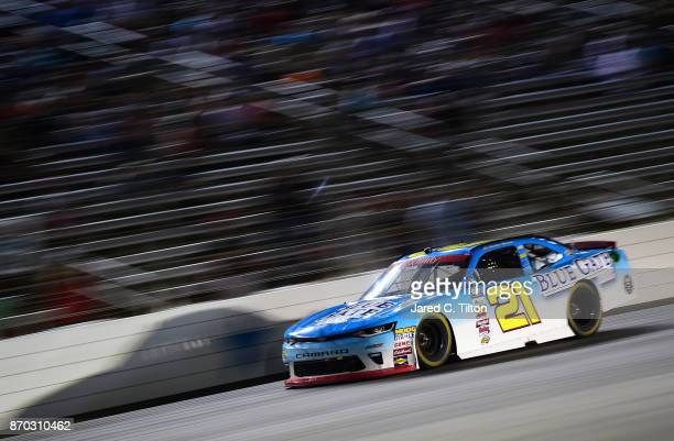 Daniel Hemric driver of the Blue Gate Bank Chevrolet races during the NASCAR XFINITY Series O'Reilly Auto Parts 300 at Texas Motor Speedway on...