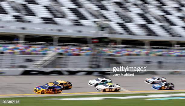 Daniel Hemric driver of the South Point Hotel Casino Chevrolet and Ryan Blaney driver of the Pirtek Ford practice for the NASCAR Xfinity Series...