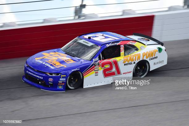Daniel Hemric driver of the South Point Hotel Casino Chevrolet drives during practice for the NASCAR Xfinity Series Sport Clips Haircuts VFW 200 at...