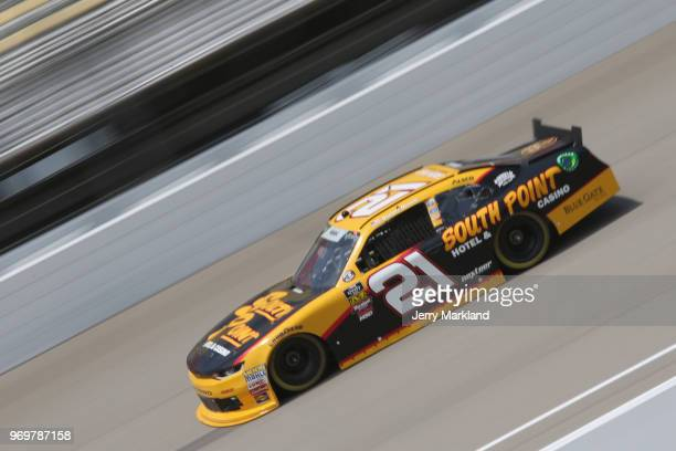 Daniel Hemric driver of the South Point Hotel Casino Chevrolet drives during practice for the NASCAR Xfinity Series LTI Printing 250at Michigan...