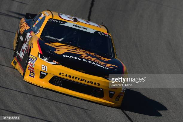 Daniel Hemric driver of the South Point Hotel Casino Chevrolet practices for the NASCAR Xfinity Series Overton's 300 at Chicagoland Speedway on June...