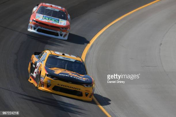 Daniel Hemric driver of the South Point Hotel Casino Chevrolet practices for the NASCAR Xfinity Series Alsco 300 at Kentucky Speedway on July 12 2018...