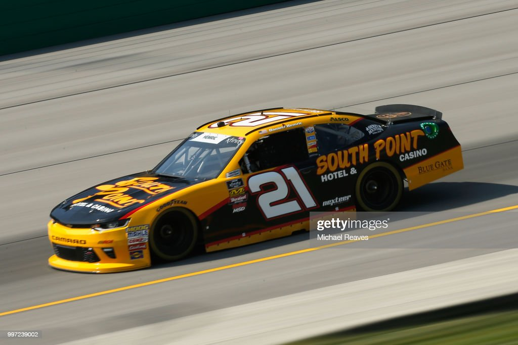 Daniel Hemric, driver of the #21 South Point Hotel & Casino Chevrolet, practices for the NASCAR Xfinity Series Alsco 300 at Kentucky Speedway on July 12, 2018 in Sparta, Kentucky.