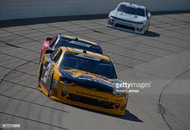 Daniel Hemric driver of the South Point Hotel Casino Chevrolet leads a pack of cars during the NASCAR Xfinity Series Iowa 250 presented by Enogen at...