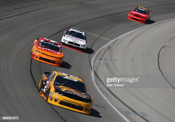 Daniel Hemric driver of the South Point Hotel Casino Chevrolet leads a pack of cars during the NASCAR Xfinity Series Overton's 300 at Chicagoland...
