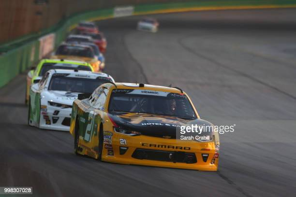 Daniel Hemric driver of the South Point Hotel Casino Chevrolet leads a pack of cars during the NASCAR Xfinity Series Alsco 300 at Kentucky Speedway...