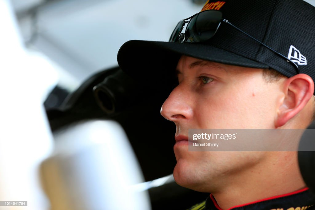 Daniel Hemric, driver of the #21 South Point Hotel & Casino Chevrolet, sits in his car during practice for the NASCAR Xfinity Series Rock N Roll Tequila 170 presented by Amethyst Beverage at Mid-Ohio Sports Car Course on August 10, 2018 in Lexington, Ohio.