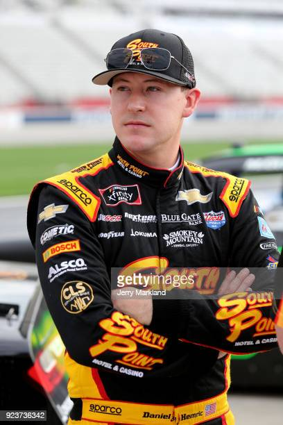Daniel Hemric driver of the South Point Hotel Casino Chevrolet stands on the grid during qualifying for the NASCAR Xfinity Series Rinnai 250 at...