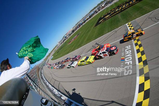 Daniel Hemric, driver of the South Point Hotel & Casino Chevrolet, takes the green flag to start the NASCAR Xfinity Series Kansas Lottery 300 at...