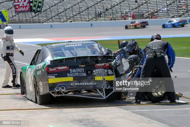 Daniel Hemric gets repairs during the My Bariatric Solutions NASCAR Xfinity Series race on April 8 2017 at Texas Motor Speedway in Fort Worth TX