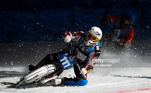 Daniel Henderson in action during Ice Speedway World Championship Final on March 13 2016 in Assen Netherlands