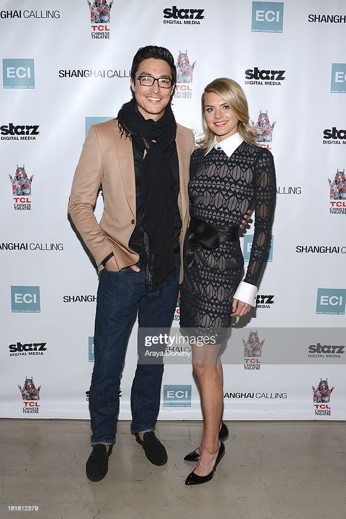 Daniel Henney and Eliza Coupe attend the 'Shanghai Calling' Los Angeles premiere at TCL Chinese Theatre on February 12, 2013 in Hollywood, California.