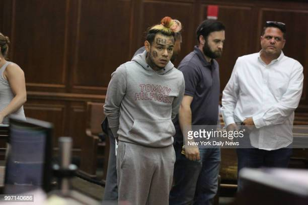 Daniel Hernandez aka Tekashi 69 aka 6ix9ine appears at his arraignment in Manhattan Criminal Court on Wednesday July 11 2018 He was arrested earlier...