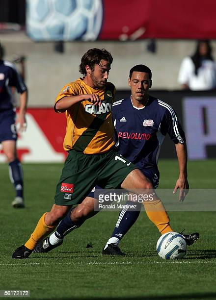 Daniel Hernandez of the New England Revolution marks Ned Grabavoy of the Los Angeles Galaxy during MLS Cup 2005 at Pizza Hut Park on November 13 2005...