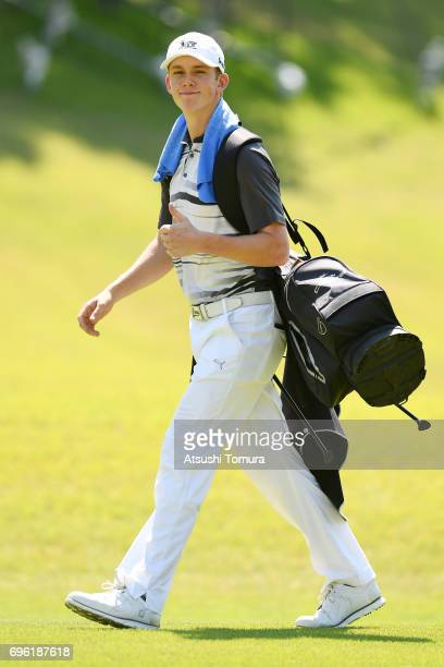 Daniel Hillier of New Zealand smiles during the third round of the 2017 TOYOTA Junior Golf World Cup at the Chukyo Golf Club Ishino Course on June 15...