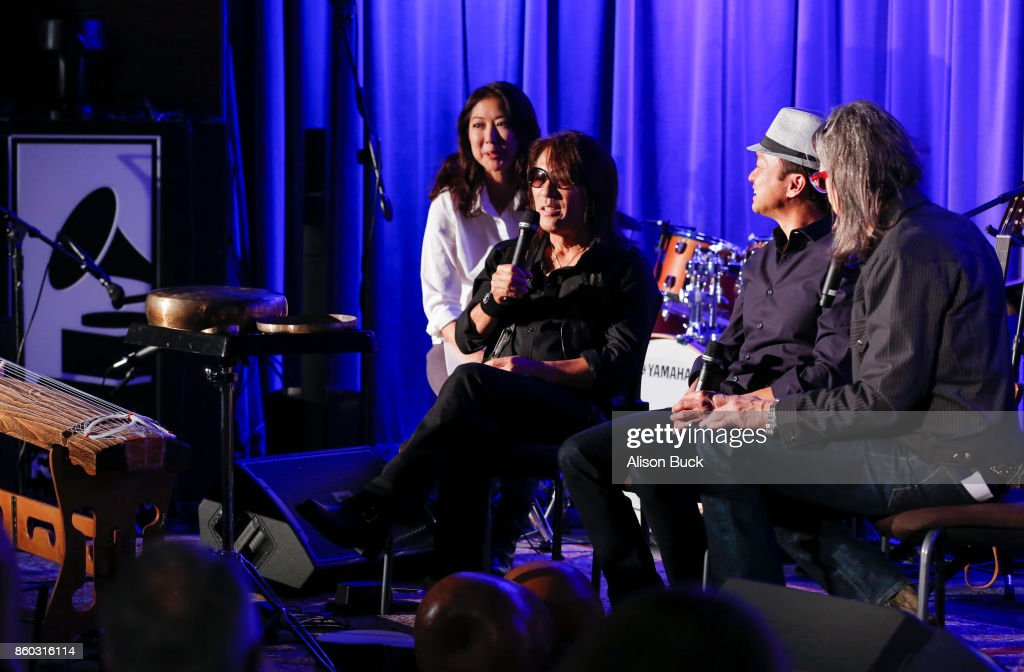 , Daniel Ho (Center) and Scott Goldman speak onstage during An Evening With Tak Matsumoto & Daniel Ho at The GRAMMY Museum on October 10, 2017 in Los Angeles, California.