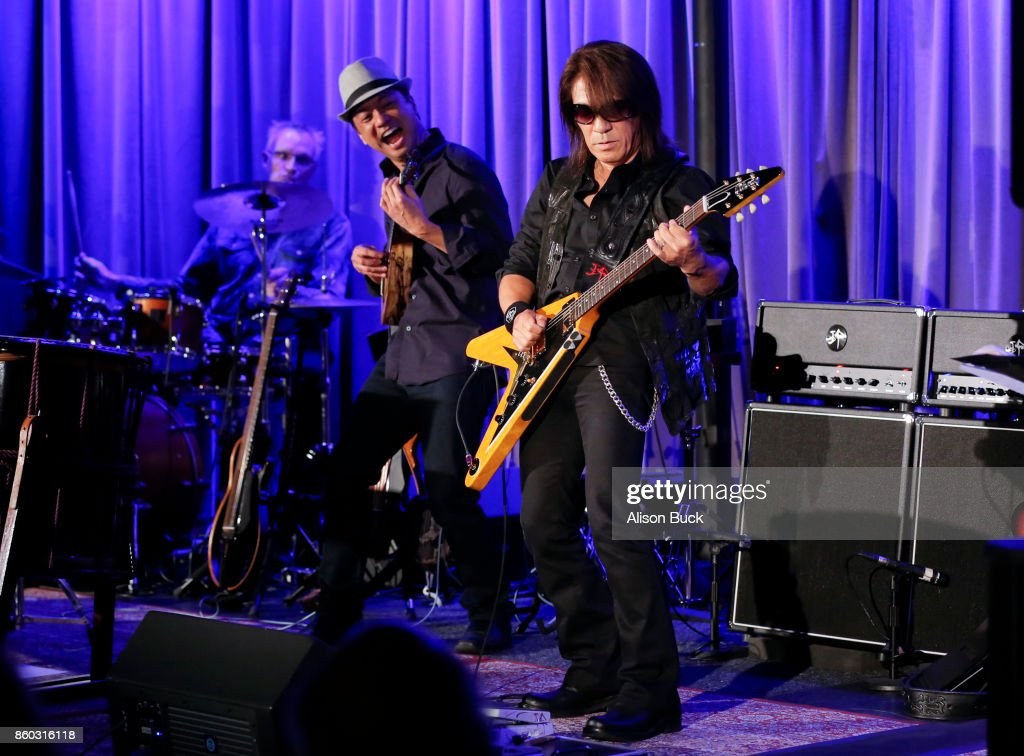 Daniel Ho (L) and TAK MATSUMOTO perform onstage during An Evening With Tak Matsumoto & Daniel Ho at The GRAMMY Museum on October 10, 2017 in Los Angeles, California.