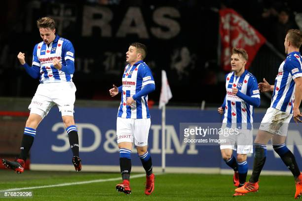 Daniel Hoegh of Heerenveen celebrates 10 with Nemanja Mihajlovic of Heerenveen Martin Odegaard of Heerenveen during the Dutch Eredivisie match...