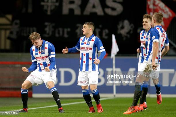 Daniel Hoegh of SC Heerenveen celebrates 0-1 with Nicolai Naess of SC Heerenveen, Martin Odegaard of SC Heerenveen, Nicolai Naess of SC Heerenveen...