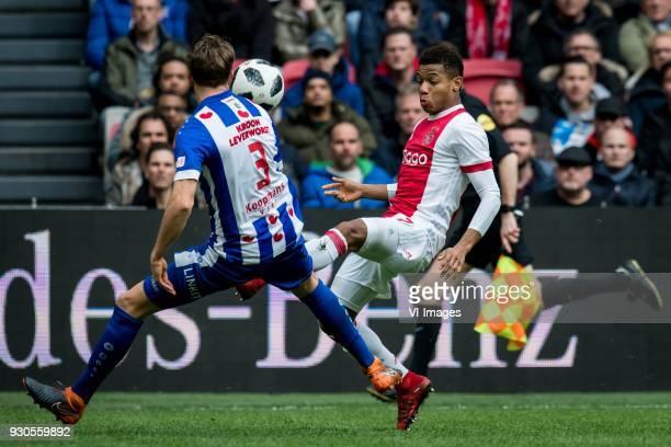 Daniel Hoegh of sc Heerenveen David Neres of Ajax during the Dutch Eredivisie match between Ajax Amsterdam and sc Heerenveen at the Amsterdam Arena...