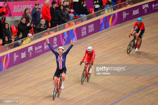 Daniel Holloway of United States celebrates during Omnium Men Points Race Finals at the Velodrome of Villa Deportiva Nacional on Day 6 of Lima 2019...