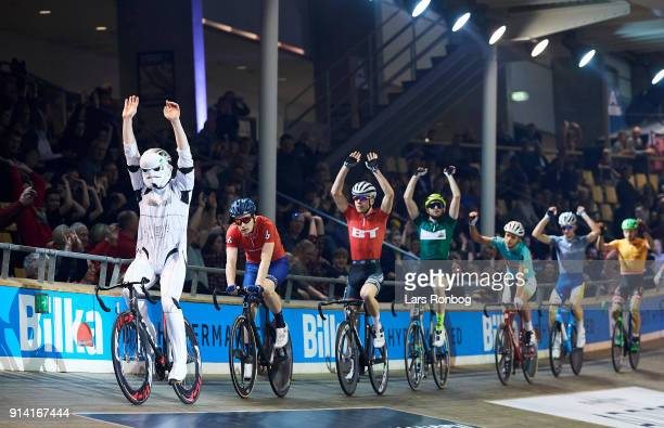 Daniel Holloway of USA dressed as a Starwars Stromtrooper during the Heini Gigant Spurt sprint on day four of the Bilka Six Day Copenhagen bike race...