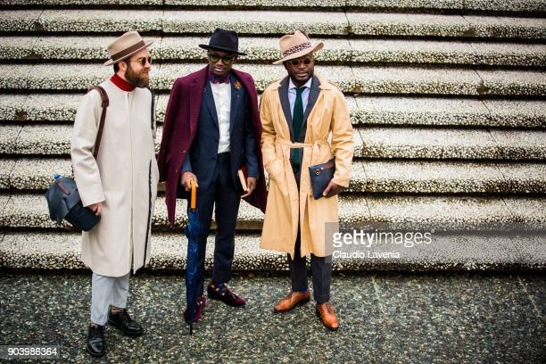 Daniel Horvath and guests wearing gentleman outfits are seen during the 93 Pitti Immagine Uomo at Fortezza Da Basso on January 11 2018 in Florence...