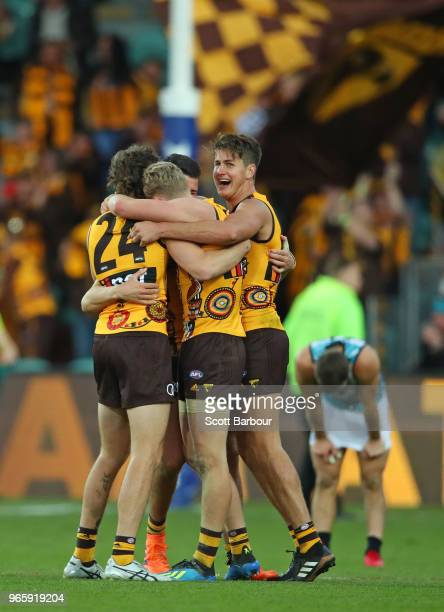 Daniel Howe of the Hawks and Ben Stratton of the Hawks celebrate at the final siren during the round 11 AFL match between the Hawthorn Hawks and the...
