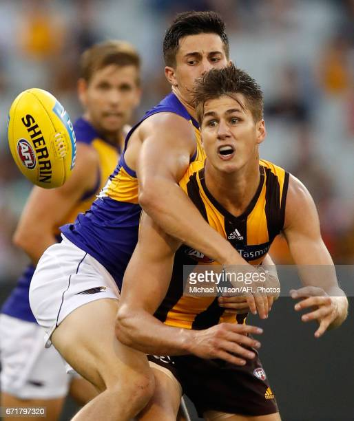 Daniel Howe of the Hawks and Liam Duggan of the Eagles compete for the ball during the 2017 AFL round 05 match between the Hawthorn Hawks and the...