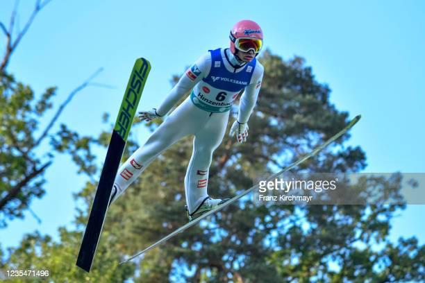 Daniel Huber of Austria competes during the FIS Grand Prix Skijumping Hinzenbach at on February 6, 2021 in Eferding, Austria.