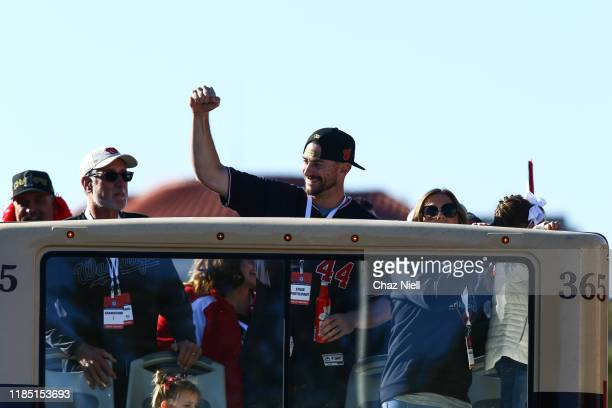 Daniel Hudson celebrates during the Washington Nationals World Series victory parade on November 02 2019 in Washington DC