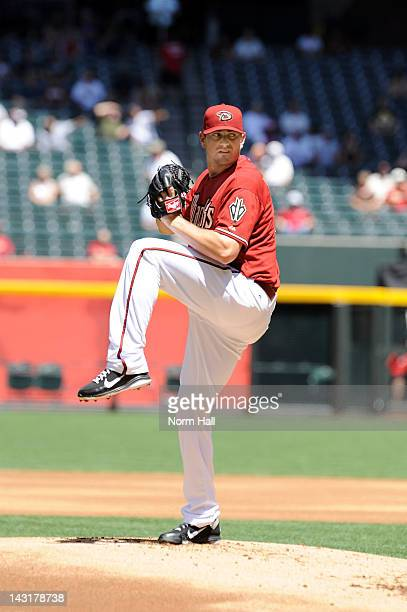 Daniel Hudson of the Arizona Diamondbacks delivers a pitch against the Pittsburgh Pirates at Chase Field on April 18 2012 in Phoenix Arizona