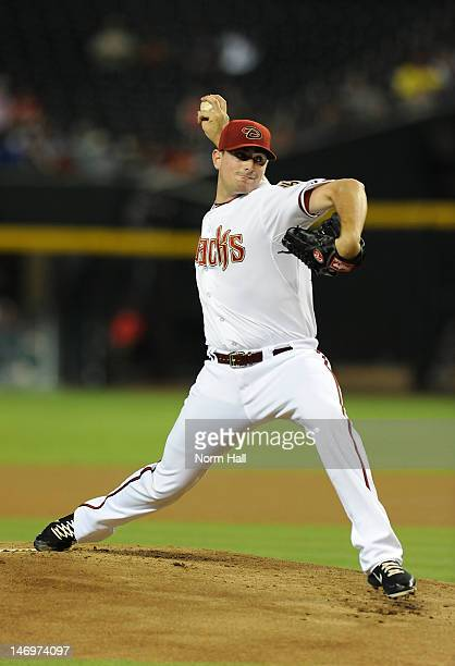 Daniel Hudson of the Arizona Diamondbacks delivers a pitch against the Seattle Mariners at Chase Field on June 19 2012 in Phoenix Arizona