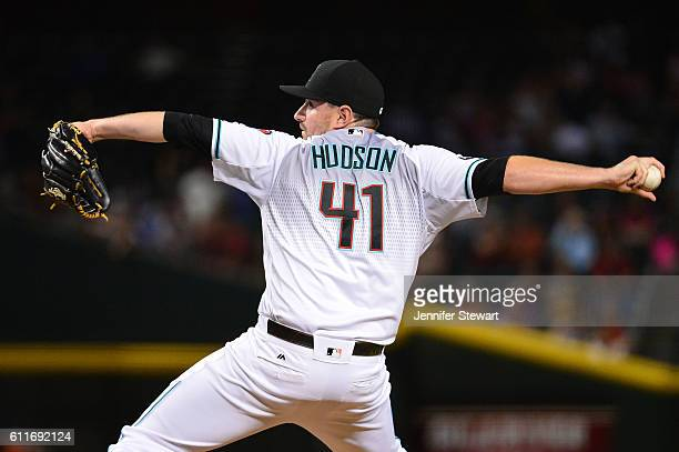 Daniel Hudson of the Arizona Diamondbacks delivers a pitch in the ninth inning against the San Diego Padres at Chase Field on September 30 2016 in...