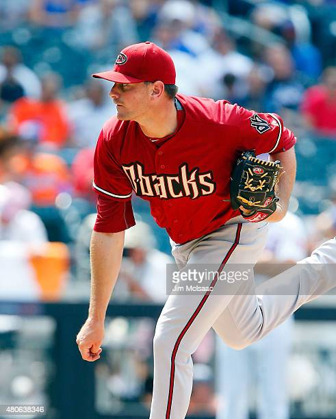Daniel Hudson of the Arizona Diamondbacks in action against the New York Mets at Citi Field on July 12 2015 in the Flushing neighborhood of the...