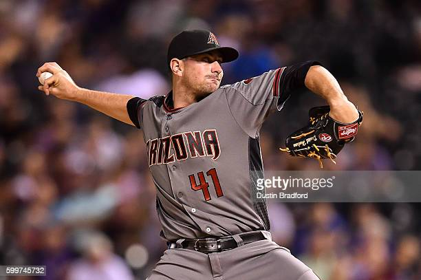 Daniel Hudson of the Arizona Diamondbacks pitches against the Colorado Rockies in the ninth inning of a game at Coors Field on September 3 2016 in...