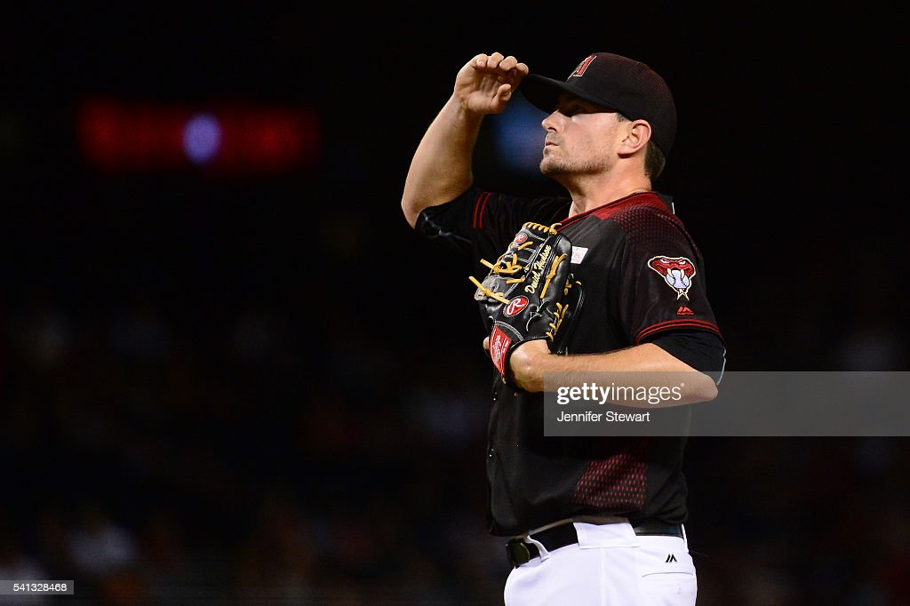 Daniel Hudson #41 of the Arizona Diamondbacks reacts during the ninth inning of the game against the San Francisco Giants at Chase Field on May 14, 2016 in Phoenix, Arizona. The San Francisco Giants won 5-3.