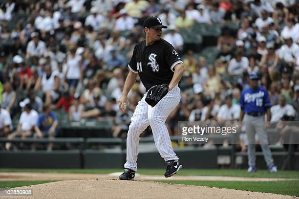 Daniel Hudson of the Chicago White Sox pitches against the Kansas City Royals on July 11 2010 at US Cellular Field in Chicago Illinois The White Sox...