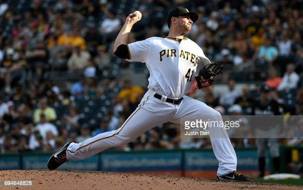 Daniel Hudson of the Pittsburgh Pirates delivers a pitch in the seventh inning during the game against the Miami Marlins at PNC Park on June 10 2017...
