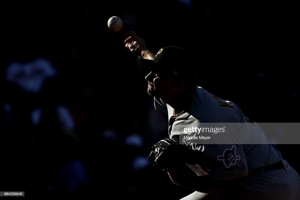 Daniel Hudson #41 of the Pittsburgh Pirates pitches against the Boston Red Sox during the eighth inning of the opening day game at Fenway Park on April 3, 2017 in Boston, Massachusetts.