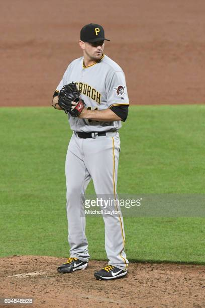 Daniel Hudson of the Pittsburgh Pirates pitches during a baseball game against the Baltimore Orioles at Oriole Park at Camden Yards on June 7 2017 in...
