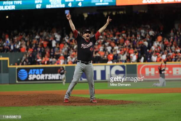 Daniel Hudson of the Washington Nationals celebrate after defeating the Houston Astros in Game Seven to win the 2019 World Series at Minute Maid Park...