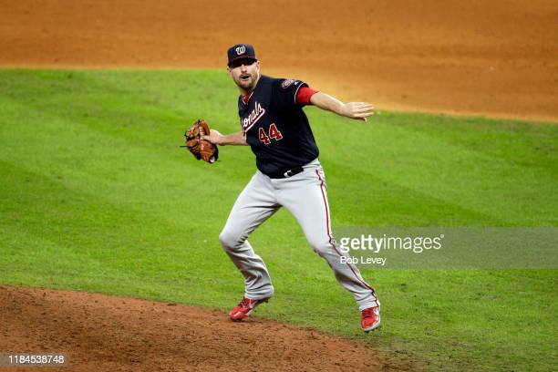 Daniel Hudson of the Washington Nationals celebrate after defeating the Houston Astros 62 in Game Seven to win the 2019 World Series in Game Seven of...