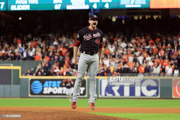 Daniel Hudson of the Washington Nationals celebrates after defeating the Houston Astros 62 in Game Seven to win the 2019 World Series in Game Seven...