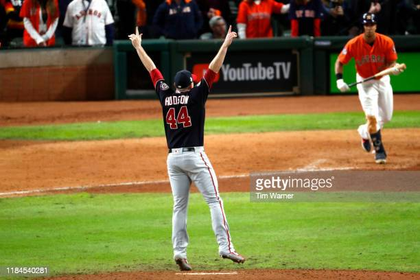 Daniel Hudson of the Washington Nationals celebrates after striking out Michael Brantley of the Houston Astros to win Game Seven 62 to win the 2019...
