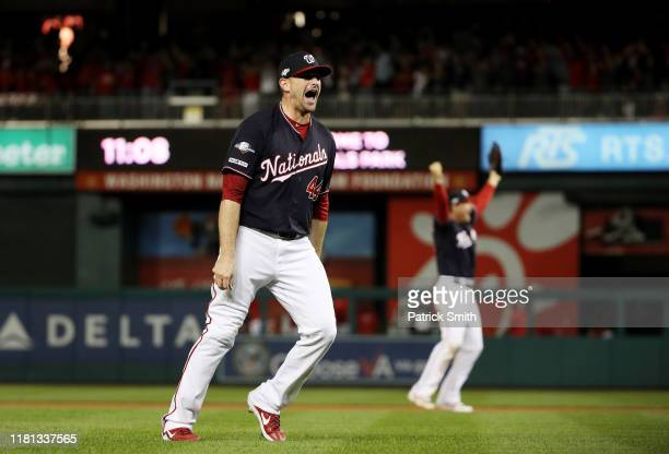 Daniel Hudson of the Washington Nationals celebrates winning game four and the National League Championship Series against the St Louis Cardinals at...