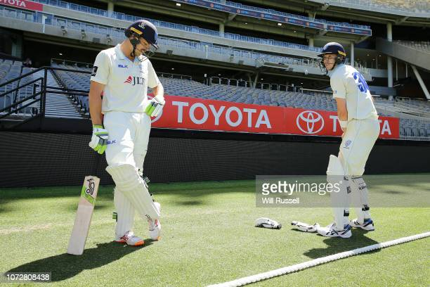 Daniel Hughes and Nick Larkin of the Blues prepare to bat during the Sheffield Shield match between Western Australia and New South Wales at Perth...