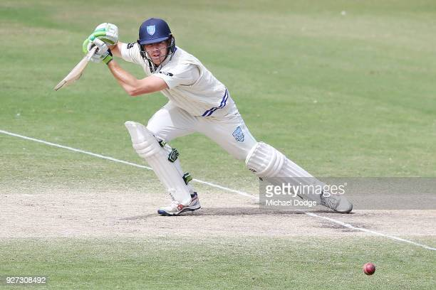 Daniel Hughes of New South Wales bats during day three of the Sheffield Shield match between Victoria and New South Wales at Junction Oval on March 5...