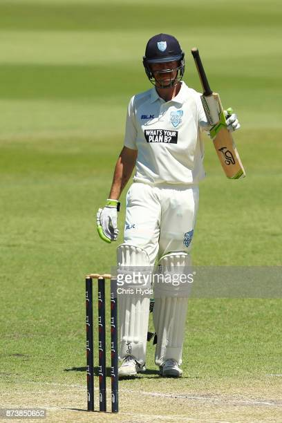 Daniel Hughes of New South Wales celebrates his half century during day two of the Sheffield Shield match between Queensland and New South Wales at...